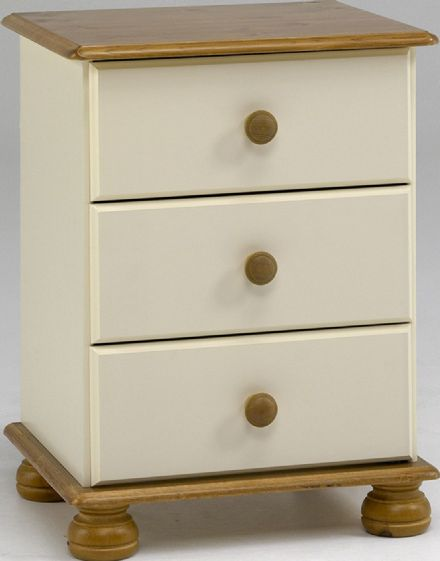 Richmond Cream And Pine 3 Drawer Bedside Cabinet